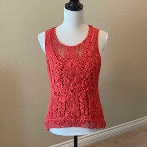 Orange Crochet Front Sleeve Knit Top